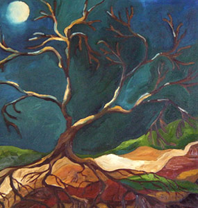 Roots and Trees painting of a bare leaf tree in the moonlight, titled Moonlight
