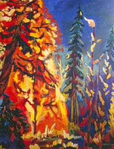 Vibrant coloured, landscape painting of forest titled Red tongues and Owlet Feathers
