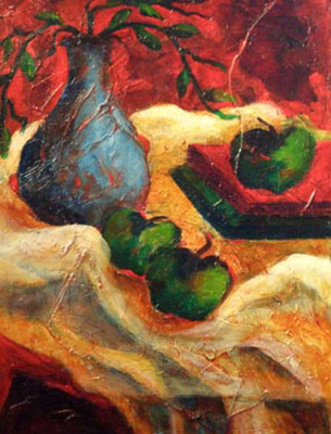 Still life painting called Green Apples and a Blue Vase.